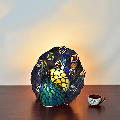 reative Tiffany Style Glasmalerei Pfau mit Schreibtisch für Wohnzimmer dekorative Beleuchtung,Color,26x28x24cm ()