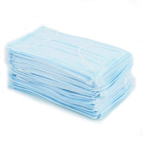 50x Mascherine Chirurgiche Protettive Monouso Uso Medico con Lacci Blu Chiaro