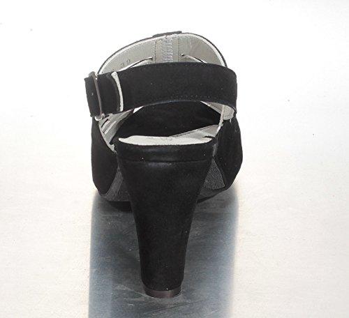 Laser Spath Senhoras cortes Marion Negros Sandália Designer 344 Suede 982 Com 8qz5za