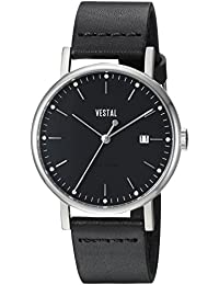 Vestal Sophisticate 36 Swiss Quartz reloj vestido de cuero y acero inoxidable, color