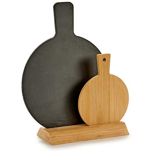 TU TENDENCIA ÚNICA Juego 2 Tablas Pizarra y Bambu Redondas. Resistentes, Ideal para Quesos, Embutidos, Picadillos. Medidas: 28x10x33 cm