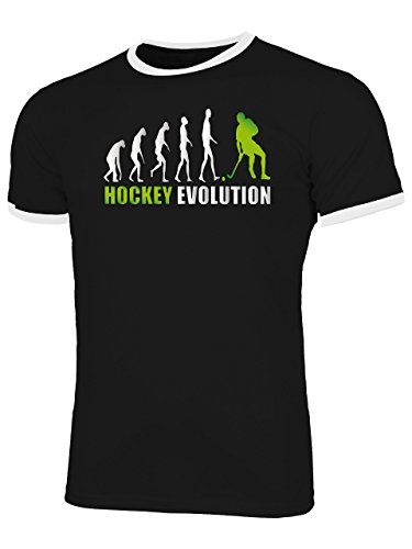 Hockey Evolution 618 Fanshirt Shirt Tshirt Fanartikel Fanshirt Männer Sportbekleidung Herren Ringer T-Shirts Schwarz Weiss Aufdruck Grün S
