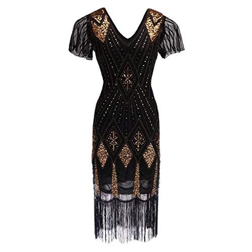 Go First 1920er Jahre Flapper Kleid Lange Fransen Gatsby Kleid Roaring 20er Jahre Pailletten Perlen Kleid Vintage Art-Deco-Kleid (Color : Schwarz, Size : X-Large) (Plus Size 20er Jahre Kleider)