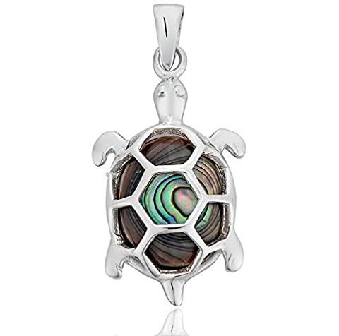DTPSilver - 925 Sterling Silver and Abalone Paua Shell Turtle Pendant