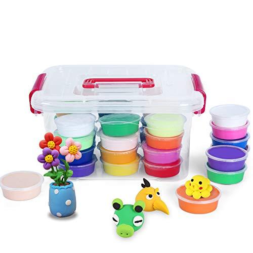 Simple Culture Super 24 Farben Heller Ton Set ohne Geruch, für Kinder, handgefertigt, Plasticine Farbe Ton, 24colors+Box+Tool -