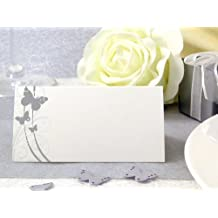 50x Tischkarten Hochzeit EinsSein® Liebesfalter silber Hochzeit, Tischkarten, Platzkarten, Namenskarten, Herz Schmetterling Stuhl Rosen Ringe