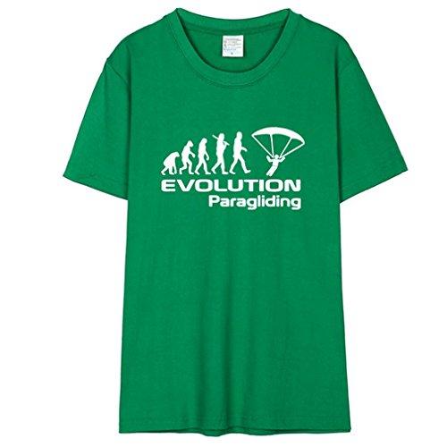 Honghu Divertenti Grafico Evolution Paragliding Cotone T Shirts for Men Verde&Bianca