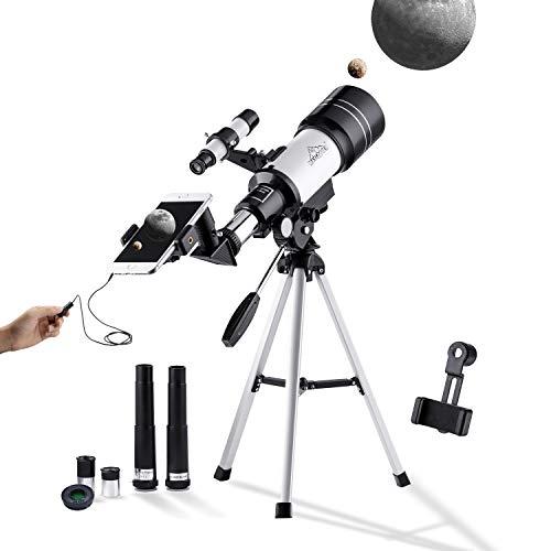 150X Telescopio Niños Monóculo Astronómico 300-70mm para Principiante, con Trípode, Adaptador para...