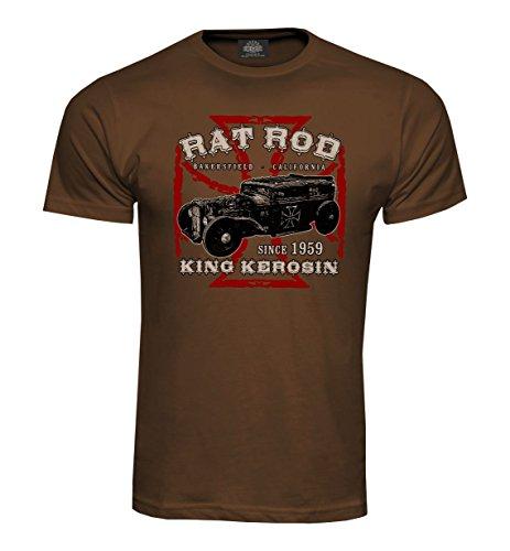 King Kerosin T-Shirt Rat Rod Hotrod Chocolat