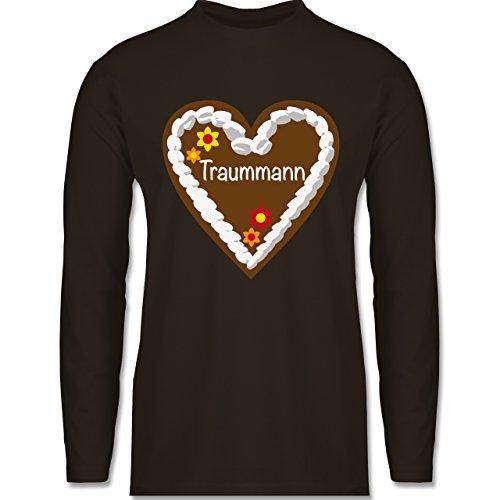 Oktoberfest Herren - Lebkuchenherz Traummann - Longsleeve / langärmeliges T-Shirt für Herren Braun
