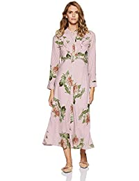 Stalk Buy Love Women's Viscose Floral Berta Striped Knotted Maxi Dress