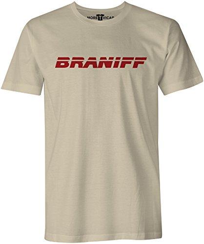 Braniff Arirlines - Herren Retro Verkehrsflugzeug Logo T Shirt Sand
