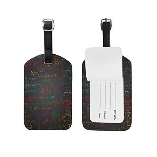 Luggage Tag Black Math Physics Formula Travel Tag Name Card Holder for Baggage Suitcase Bag 2 Pieces Set