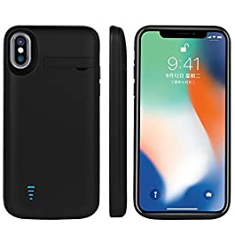 RUNSY iPhone X / 10 Battery Case, 5000mAh Rechargeable Extended Battery Charging Case, External Battery Charger Case, Backup Power Bank Case, Support Lightning Wired Headphones