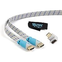 MutecPower Cavo piatto HDMI ad alta velocità con Ethernet (2 M) 1.4a - Supporto 3D e Canale di Ritorno Audio(ARC) - Full HD [Disponibile ultima versione HDMI] - 2 metri - con un adattatore HDMI e una fascetta per cavi - grigio e blu intrecciato