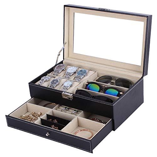 FIONAT Uhrenbox Schmuckkästchen Männer Und Frauen 2 Schicht Tragbare Glasabdeckung Uhr Schmuck Display Aufbewahrungsbox30,5 * 20 * 14 cm
