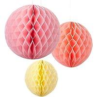 Talking Tables - Set 3 sfere decorative a nido d'ape Decadent, colori pastello assortiti