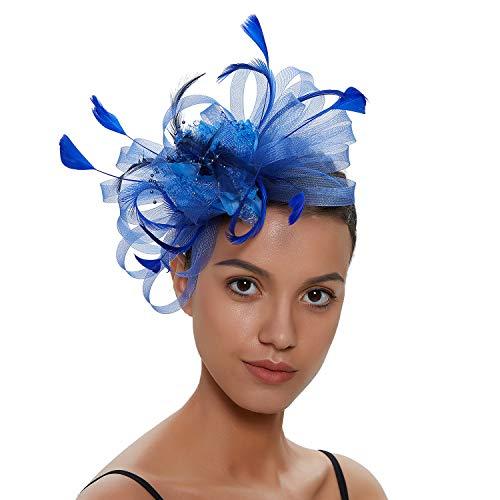 Zivyes Fascinators Hut für Frauen Tea Party Stirnband Kostüm Zubehör Hochzeit Cocktail Blume Mesh Federn Haarspange (1-Blue)