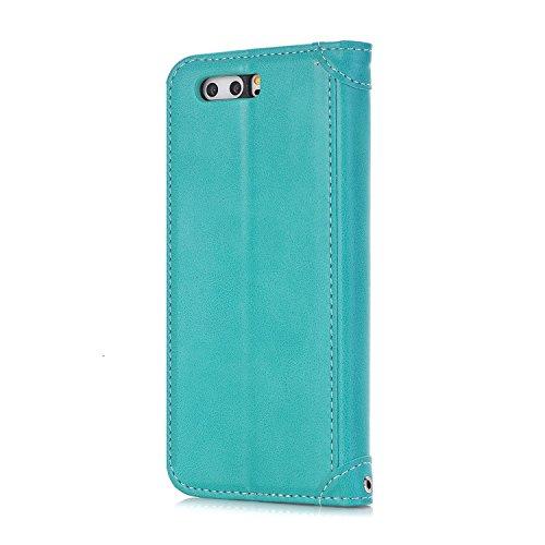Huawei P10Lite Tasche, PU Leder Wallet Magnetic Flip-Telefon Fall Stand Cover für Huawei P10Lite Rose&Green grün