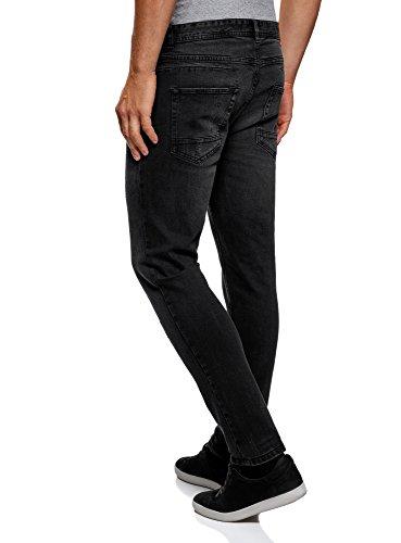 oodji Ultra Herren Jeans Slim Fit in Used-Optik Schwarz (2900W)