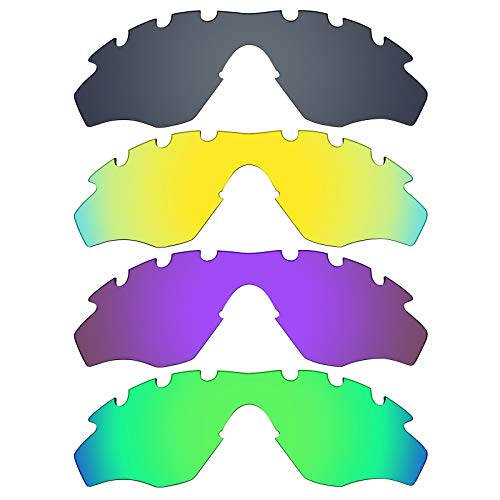 MRY 4Paar Polarisierte Ersatz-Gläser für Oakley M2Rahmen belüftet sunglasses-black Iridium/24K Gold/Plasma violett/Smaragd Grün