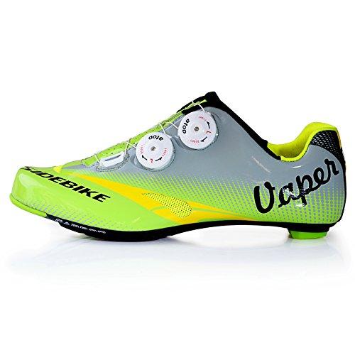 SIDEBIKE Chaussures de vélo de route Chaussure de vélo professionnelle pour hommes et femmes Vert et Gris