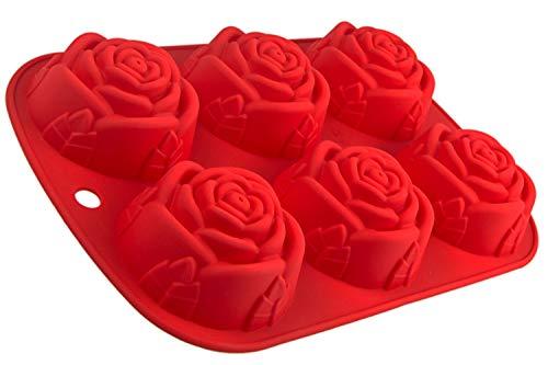 BlueFox Silikonform mit Rosen, 6 Blumen, Backform für Muffins, Brownies, Cupcake, riesige Eiswürfel, Bowle, Valentinstag, Liebe, Hochzeit, Kuchen, Pudding, Schokolade, Seife, Farbe: Rot