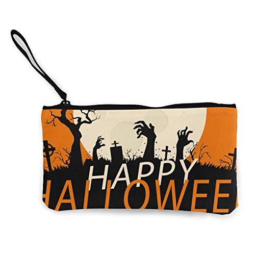 dewdferf Coin Purse Happy Halloween Cute Travel Makeup Pencil Pen Case With Handle Cash Canvas Zipper Pouch 4.7