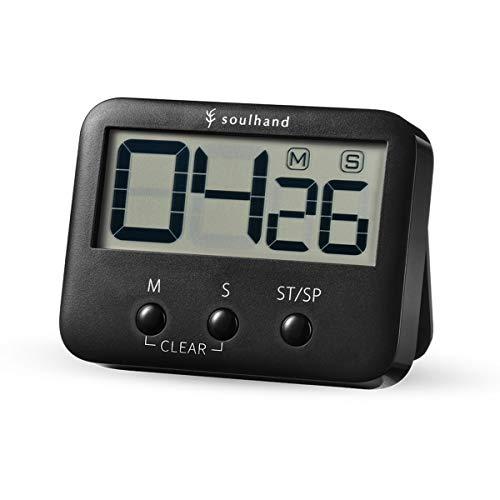 soulhand Minuterie de Cuisine numérique, minuterie de Cuisson, Grand écran, Aimant arrière avec piédestal, Alarme Forte, Fonction de mémoire, Compte-up et Compte à rebours pour la Cuisson