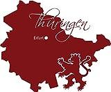 GRAZDesign 630424_57_030 Wandtattoo Wall Sticker für Wohnzimmer Büro Thüringen Karte Umriss Städte Lände (69x57cm//030 dunkelrot)