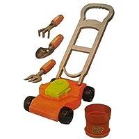 Unibos Kids 6 Piece Lawn Mower Gardening Tools Garden Play Set Toddler Toy Fork Spade