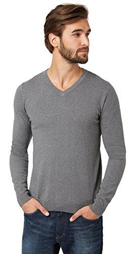Tom Tailor - Pull Tom Tailor Merino V-Neck Sweater Gris