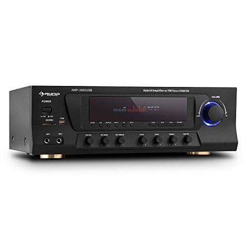 auna AMP-3800  5.1-Kanal Surround Receiver  Hifi-Stereo  Heimkino Verstärker  600 Watt maximale Leistung  UKW-Radiotuner  2 x Mikrofon-Eingang  MP3-fähiger USB-Port  SD-Slot  2-Band-Equalizer  DSP-Effekte  Fernbedienung  schwarz