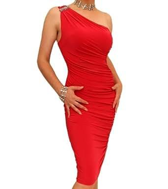 Blue Banana Red Figure Hugging Diamante Dress Size 8