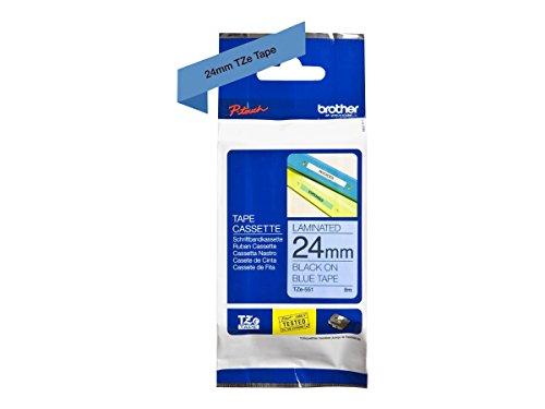Brother Original P-touch Schriftband TZe-551 24 mm, schwarz auf blau (kompatibel u.a. mit Brother P-touch P700,- 2430, -D600, -9700PC, -P750W)