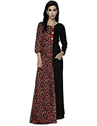 Shiloh Long Gown Style Party Wear Red & Black Rayon Ethnic Kurti For Women : In L XL XXL Size