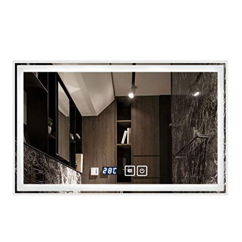 ACZZ An der Wand befestigtes Badezimmer führte intelligenten Spiegel Bluetooths Hd, rahmenlose Lampe Anti-Fog,E,60 * 80 cm (Rahmenlose Badezimmer Spiegel)