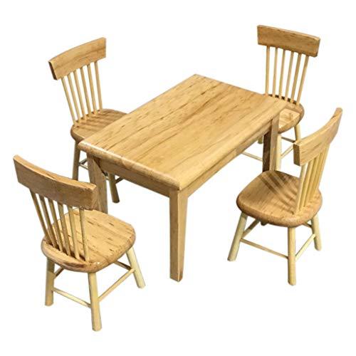 Wokee 5 Stück Miniatur Möbel Stuhl Modell Set Puppenhaus,1:12 Barbies Puppenschlafzimmer,Miniatur Möbel -