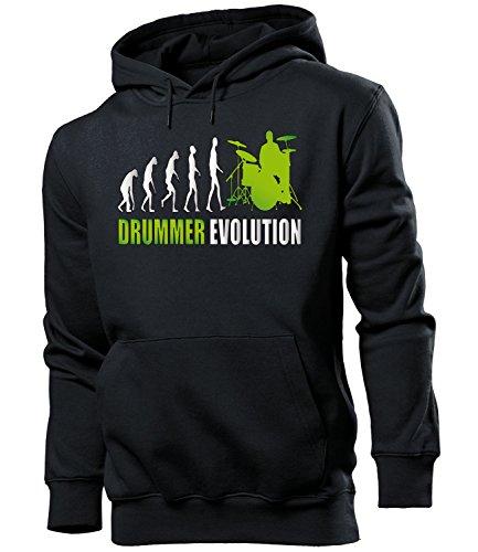 Drummer Evolution 2045 Schlagzeug Männer Fun Hoodie Herren Kapuzen Pullover Sweatshirt Pulli mit Spruch Geschenk Ideen Schwarz Aufdruck Grün M