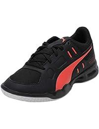 Puma Unisex's Auriz Jr Black-nrgy Red White Badminton Shoes