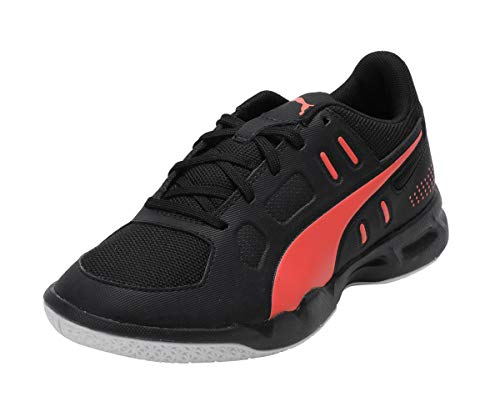 PUMJV|#Puma Auriz Jr, Scarpe da Calcetto Indoor Unisex-Bambini, Black/Nrgy Red/Puma White 01, 5 EU