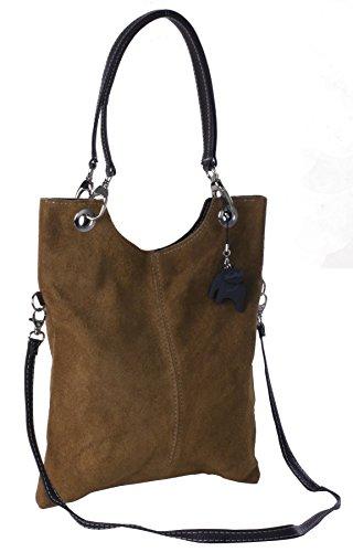 Big Handbag Shop in pelle scamosciata, Maniglia superiore sera frizione borsa a tracolla Tan