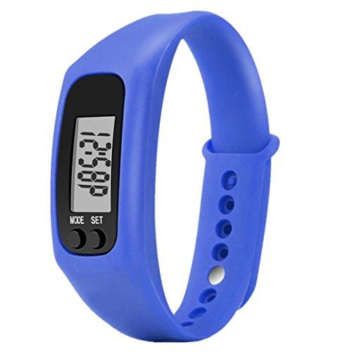 Sportuhren,Pottoa Run Step Watch Armband Schrittzähler Kalorienzähler Digital LCD Walking Distance Bracelet Watch Fitness-Uhr Schlaftracker Kalorienzähler (Marine)
