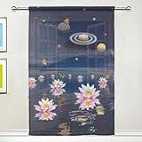 TIZORAX Fenstervorhang Zen Universe und Lotusblüten aus Voile, für Küche, Wohnzimmer oder Kinderzimmer, 139,7 cm B x 19,8 cm L, Polyester, Multi, 55