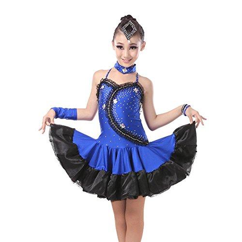 YI WORLD Mädchen Lateinischer Tanz Kleidung Frau Rumba tanzen Diamant Gymnastik Kleid schwarz rot , blue , (Kostüm Stück Tanz Zeitgenössischer 2)