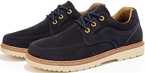 PPXID Hommes Chaussures de Travail Décontractées à Lacets en Daim Britanniques Style Bleu