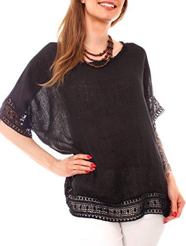 Easy Young Fashion Damen Leinentunika Bluse Kurzarm mit Häkelspitze aus 100% Leinen uni One Size Schwarz