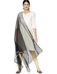 Srishti by FBB Women's Cotton Sequin Dupatta (Black, Free Size)