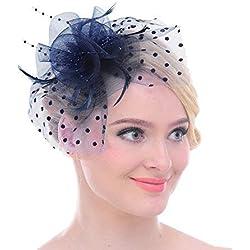 Vintage Plumas Lunares Malla-Red Hair Clip para Royal Ascot cóctel Azul Azul Marino Medium