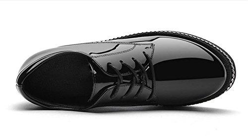 Frau mit schweren Boden Plateauschuhe Schuhe Frühlings-Frau kleinen Lederschuhs in dem höheren Absatzschuh Frauenschuh Black
